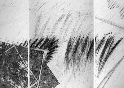 Incisione calcografica. Anno: 1999 Matrice: 6 lastre 35X25 cm Dimensioni stampa: stampa su carta Guarra 38X110 cm. Stampata presso il Frans Masereel Centrum (Kasterlee, Belgio) Tiratura: 5/5