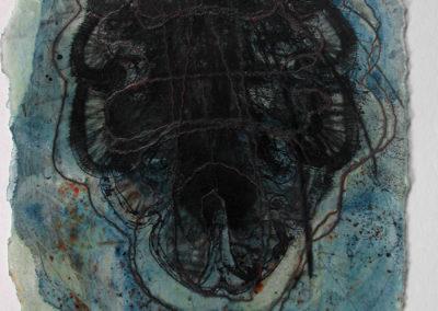 Incisione calcografica, 2001. 1 lastra 35x25x74 cm, stampa su carta Hahnemühle 53x39 cm. Stampata presso il Frans Masereel Centrum (Kasterlee, Belgio) Tiratura: 5/5, 1 PdA