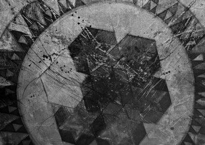 Incisione calcografica, 2002. 1 lastra 45x74 cm, stampa su carta Hahnemühle 45x74 cm. Stampata presso il Frans Masereel Centrum (Kasterlee, Belgio) Tiratura: 5/5