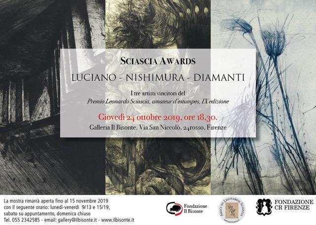 invito dell'esposizione dei vincitori del premio Sciascia a Firenze 2019